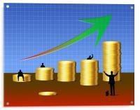 Money Stacks Business Chart, Acrylic Print