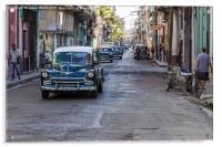 Facing a line of taxi's in Centro Havana, Acrylic Print