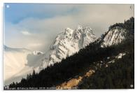 Mountain peaks and landscape, Acrylic Print