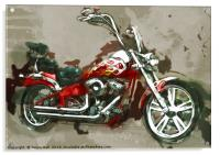 Red Chopper Motorbike, Watercolour oil grunge, Acrylic Print