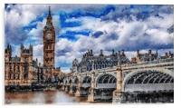 London Bridge Watercolour Painting, Acrylic Print