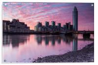 across the water towards  st George wharf, Acrylic Print