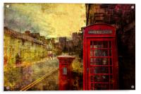 A Red Pillar Box and Telephone Booth on Castle St, Acrylic Print