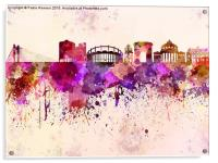 Bucharest skyline in watercolor background, Acrylic Print