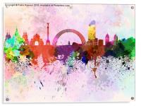 Kiev skyline in watercolor background, Acrylic Print