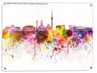 Stuttgart skyline in watercolor background, Acrylic Print