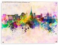Turin skyline in watercolor background, Acrylic Print