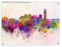 Oklahoma City skyline in watercolor background, Acrylic Print