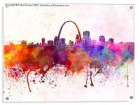 St Louis skyline in watercolor background, Acrylic Print