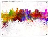 Portland skyline in watercolor background, Acrylic Print