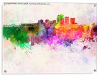 Louisville skyline in watercolor background, Acrylic Print