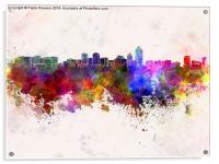 Albuquerque skyline in watercolor background, Acrylic Print