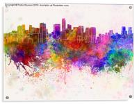 Mexico City skyline in watercolor background, Acrylic Print