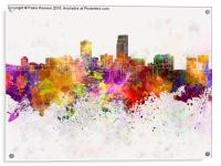 Omaha skyline in watercolor background, Acrylic Print
