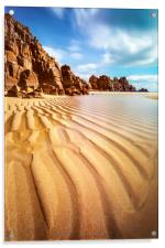 Sand Pand Patterns at Pedn Vounder, Acrylic Print