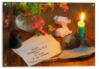 Calligraphy Still Life - Death I, Acrylic Print