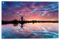 Thurne Windmill at Sunrise, Norfolk Broads., Acrylic Print