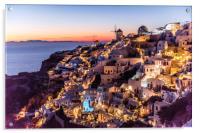 Sunset in Oia Santorini, Acrylic Print