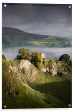 Peveril Castle in moody lighting, Castleton, Derb, Acrylic Print