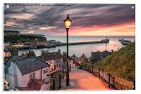 A summer sunset over Whitby pier, Acrylic Print