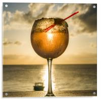 Sunset cocktail at the bar - Curacao Views, Acrylic Print
