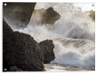 Crashing waves    Curacao views , Acrylic Print