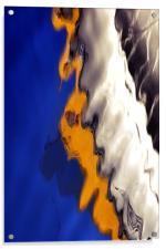 Blue Yellow Sea Boat, Acrylic Print