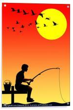 Childhood dreams, Fishing, Acrylic Print