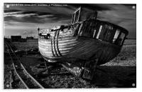 Abandoned Fishing Boat at Dungeness., Acrylic Print