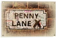 Penny Lane street sign in Liverpool UK, Acrylic Print