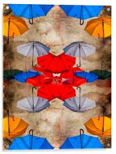 colorful umbrellas against a grungy background, Acrylic Print