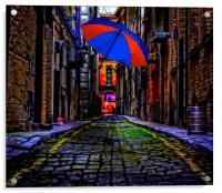 colorful umbrella in a dark back street alley, Acrylic Print