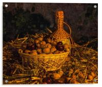 Still-life with nuts and wine, Acrylic Print