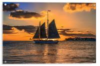 Sunset Sail and Plane, Acrylic Print