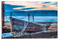 Old fishing boat with net, Acrylic Print