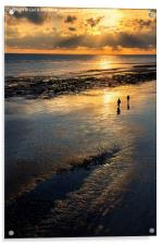 Sunset Strolls, Worthing Beach, Acrylic Print