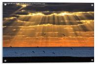 Worthing Beach Sun Rays, Acrylic Print