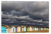 Ferring Beach Huts Under a Brooding Sky, Acrylic Print