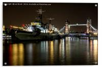 HMS Belfast and Tower Bridge, London, Acrylic Print