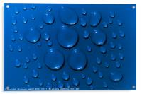 Water drops pattern on blue background, Acrylic Print