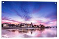 Pink sunset reflections over Cromer town at dusk, Acrylic Print