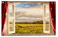 Window open with a view onto farm crops, Acrylic Print