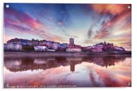 Skies ablaze in Cromer town, Acrylic Print