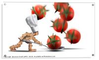 Cute chef box character catching tomatoes, Acrylic Print