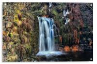 Cheesden mill waterfall, Acrylic Print