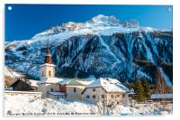 Argentiere village and church in winter. , Acrylic Print