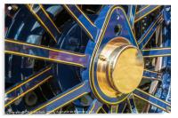 Blue and brass steam traction engine wheel, Acrylic Print