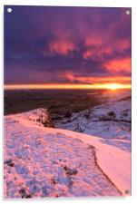 Sunrise over a winter wonderland, Derbyshire, UK , Acrylic Print