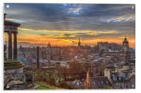 Edinburgh Skyline from Calton Hill, Acrylic Print