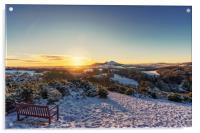 Snow over Scott's View, Melrose, Acrylic Print